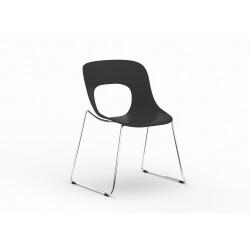 Chaise d'accueil design en PVC noir (lot de 4) Istanbul