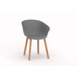 Chaise d'accueil design bois et PVC gris (lot de 4) Ostende