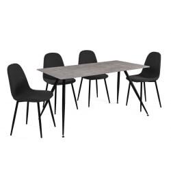 Ensemble table et 4 chaises design noir/effet béton Odena