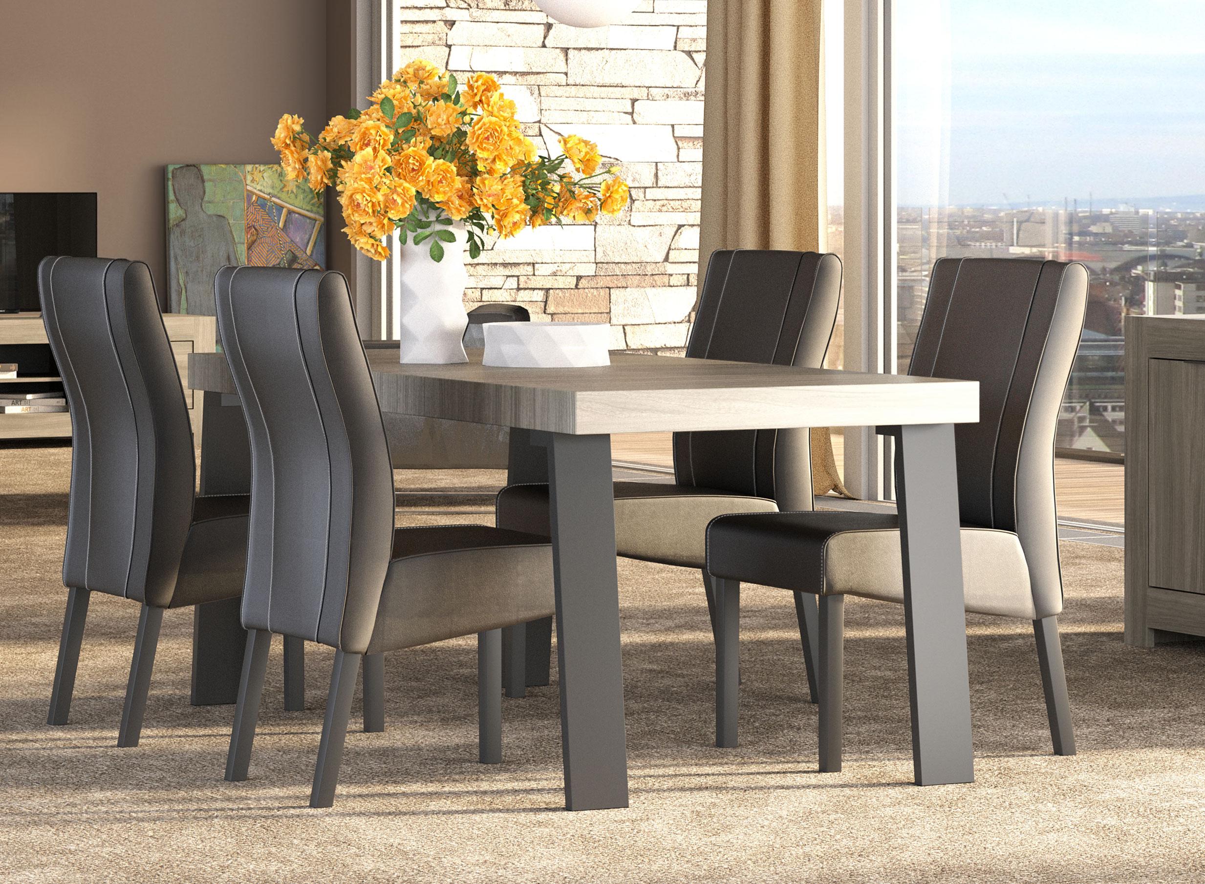 Table de salle à manger contemporaine chêne clair fumé Joris
