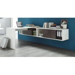 Bureau design coloris blanc/basalte noir Mezzo