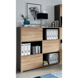 Etagère de bureau contemporaine hauteur 119 cm coloris chêne sonoma/anthracite Oscar