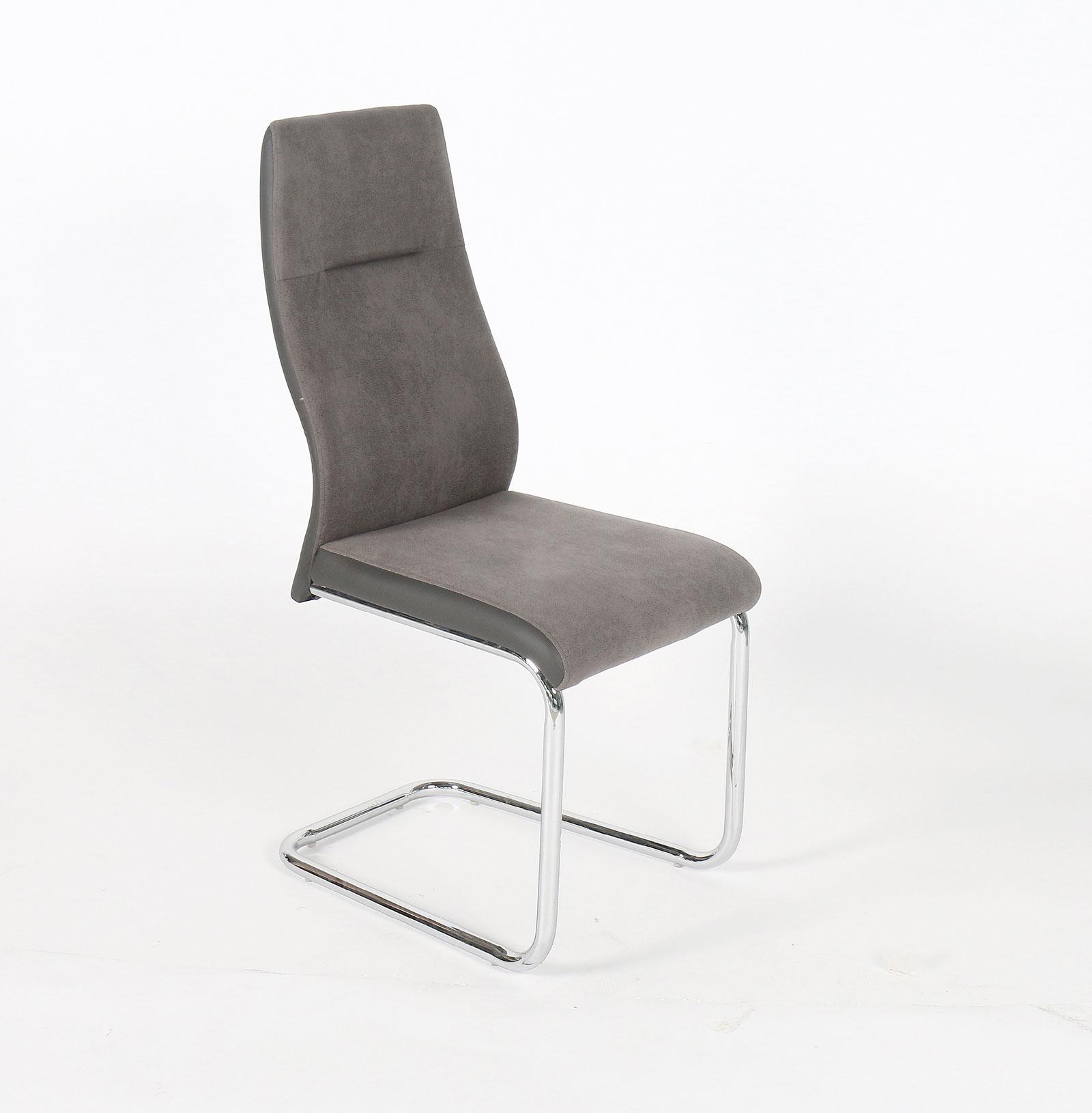 Chaise de salle à manger design tissu et PVC gris (lot de 4) Nadine