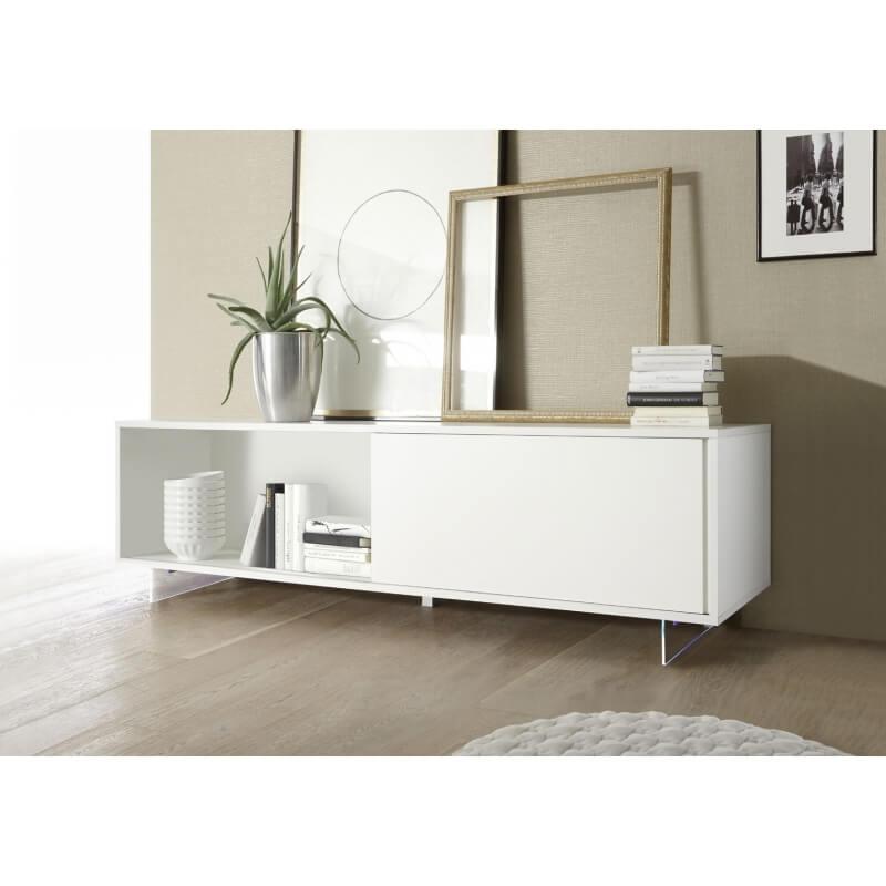 buffet bahut bas design 1 porte 2 tiroirs laqu 233 blanc mat martin matelpro
