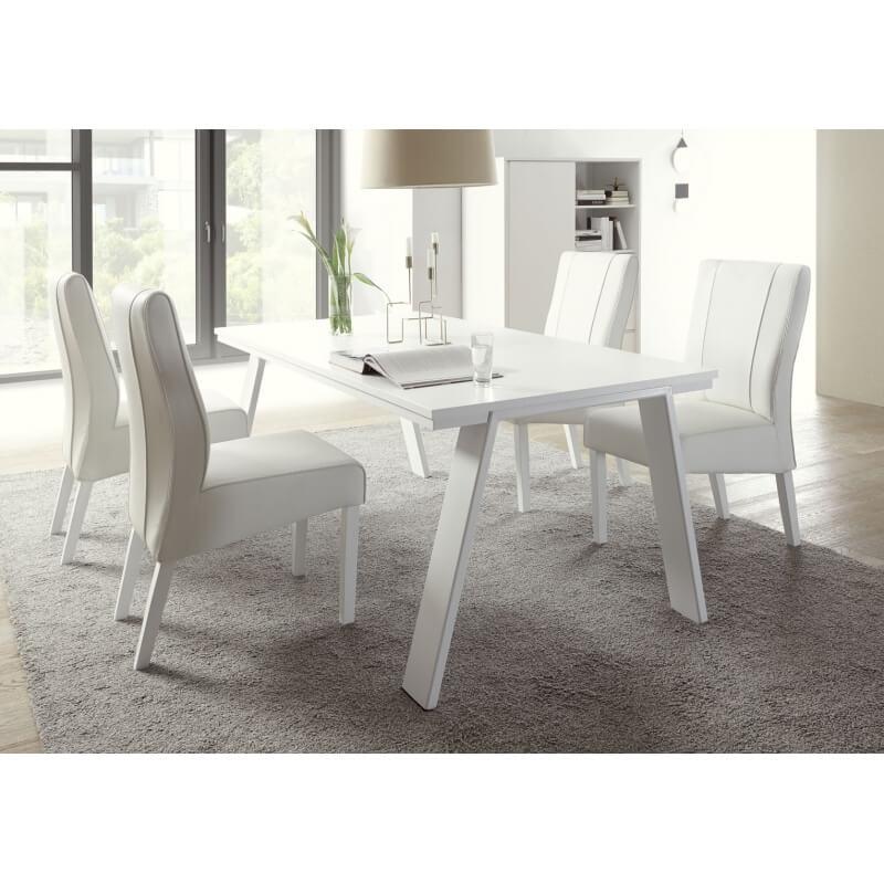Table de salle manger design laqu blanc mat martin - Table salle a manger design blanc laque ...