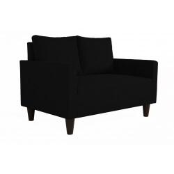 Canapé fixe 2 places contemporain en tissu noir Suzana