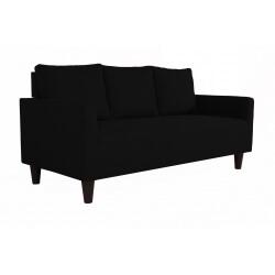 Canapé fixe 3 places contemporain en tissu noir Suzana