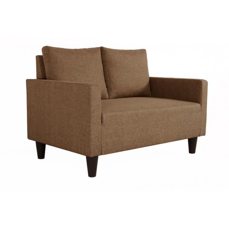 Canapé fixe 2 places contemporain en tissu brun Suzana