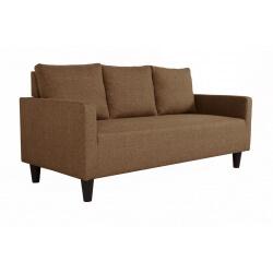 Canapé fixe 3 places contemporain en tissu brun Suzana