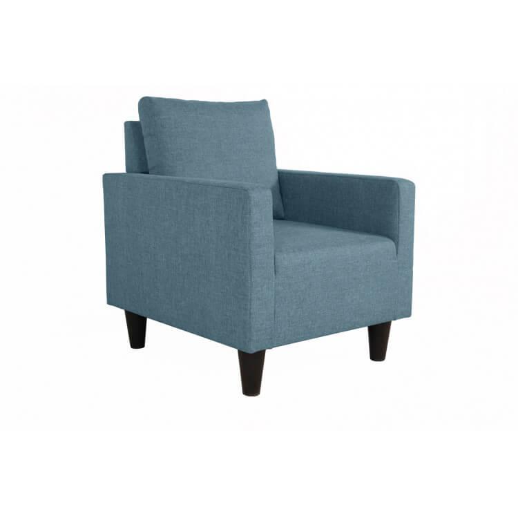 Fauteuil fixe contemporain en tissu bleu jean Suzana
