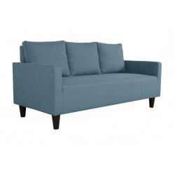 Canapé fixe 3 places contemporain en tissu bleu jean Suzana