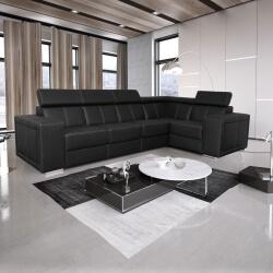Canapé d'angle fixe design 5 places en PU noir Ivoria