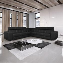 Canapé d'angle fixe design 7 places en PU noir Ivoria