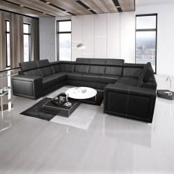 Canapé d'angle fixe panoramique design 9 places en PU noir Ivoria