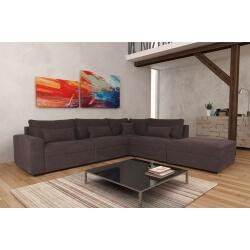 Canapé d'angle fixe modulable contemporain en tissu marron Savina