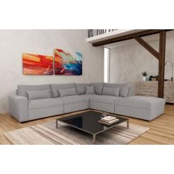 Canapé d'angle fixe modulable contemporain en tissu gris Savina