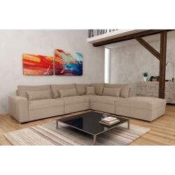 Canapé d'angle fixe modulable contemporain en tissu beige Savina