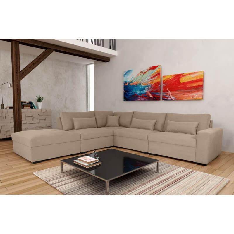 canap d 39 angle fixe modulable contemporain en tissu beige savina matelpro. Black Bedroom Furniture Sets. Home Design Ideas