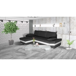 Canapé d'angle convertible contemporain en PU blanc/tissu anthracite Aramis