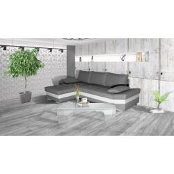 Canapé d'angle convertible contemporain en PU blanc/tissu gris Aramis