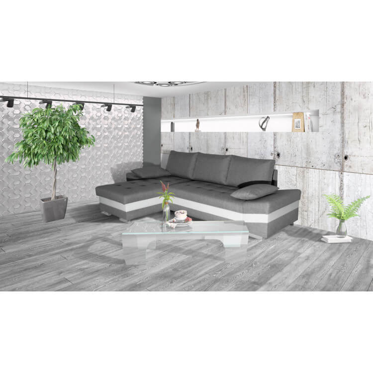 canapé d'angle convertible contemporain en pu blanc/tissu gris
