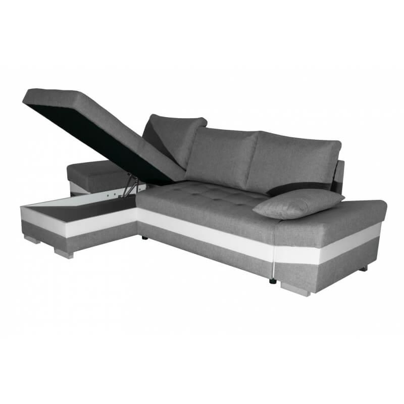Canap d 39 angle convertible contemporain en pu blanc tissu - Canape d angle contemporain ...