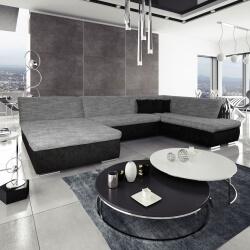 Canapé d'angle fixe contemporain en tissu noir et gris Lorenzo