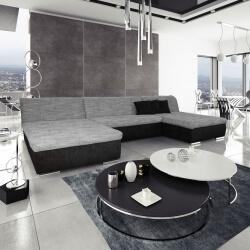 Canapé d'angle fixe contemporain en tissu noir et gris Lorenzo II