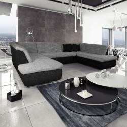 Canapé d'angle fixe contemporain en tissu noir et gris Lorenzo III