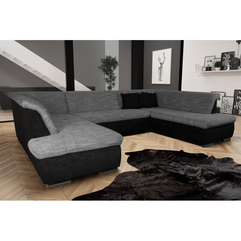 canap d 39 angle fixe contemporain en tissu noir et gris lorenzo iii matelpro. Black Bedroom Furniture Sets. Home Design Ideas