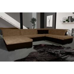 Canapé d'angle fixe contemporain en tissu cappucino et chocolat Lorenzo