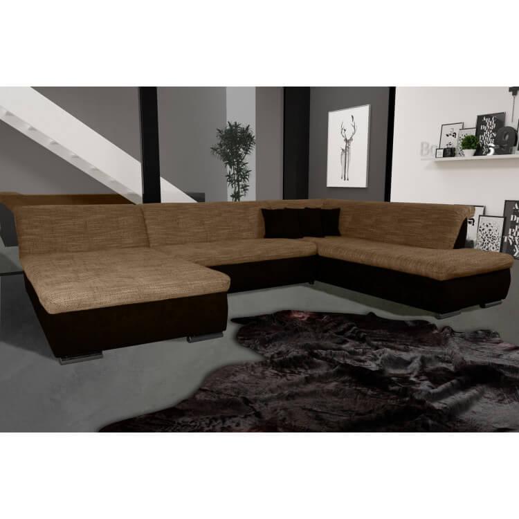 Canap d 39 angle fixe contemporain en tissu cappucino et - Canape d angle contemporain ...