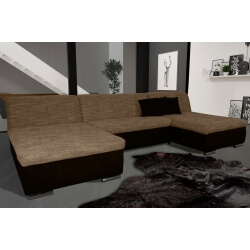 Canapé d'angle fixe contemporain en tissu cappucino et chocolat Lorenzo II