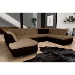 Canapé d'angle fixe contemporain en tissu cappucino et chocolat Lorenzo III