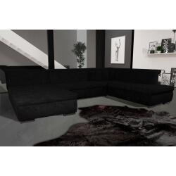 Canapé d'angle fixe contemporain en tissu noir Lorenzo