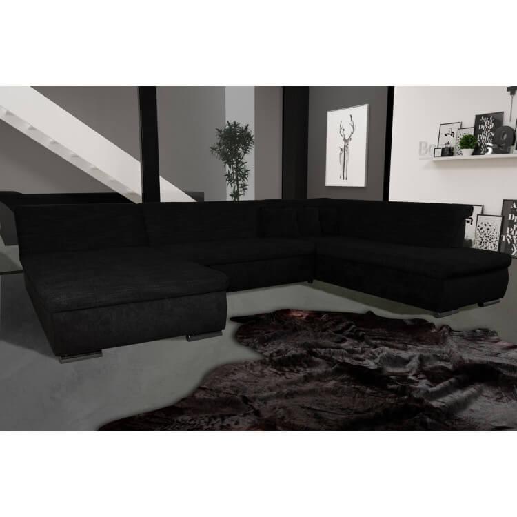 Canape D Angle Fixe Contemporain En Tissu Noir Lorenzo Matelpro