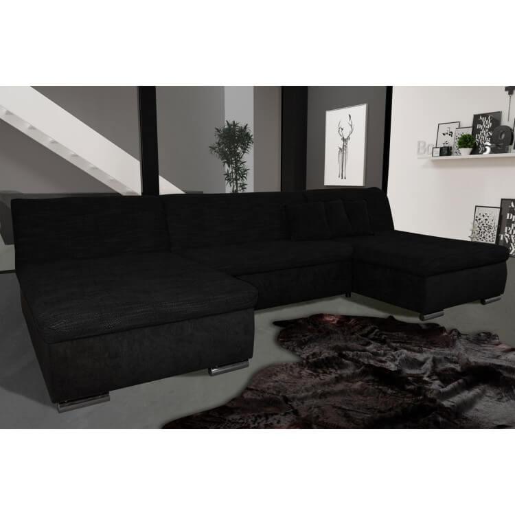 Canapé d'angle fixe contemporain en tissu noir Lorenzo II