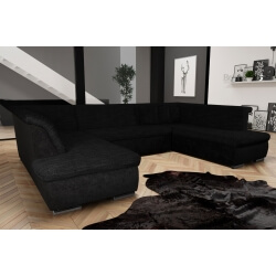 Canapé d'angle fixe contemporain en tissu noir Lorenzo III