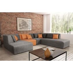 Canapé d'angle modulable contemporain en tissu gris/PU orange Manon II