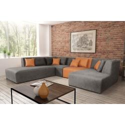 Canapé d'angle modulable contemporain en tissu gris/PU orange Manon I