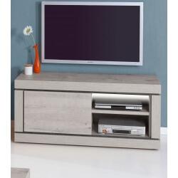 Meuble TV contemporain 134 cm coloris chêne/titanium bleu Romanesco