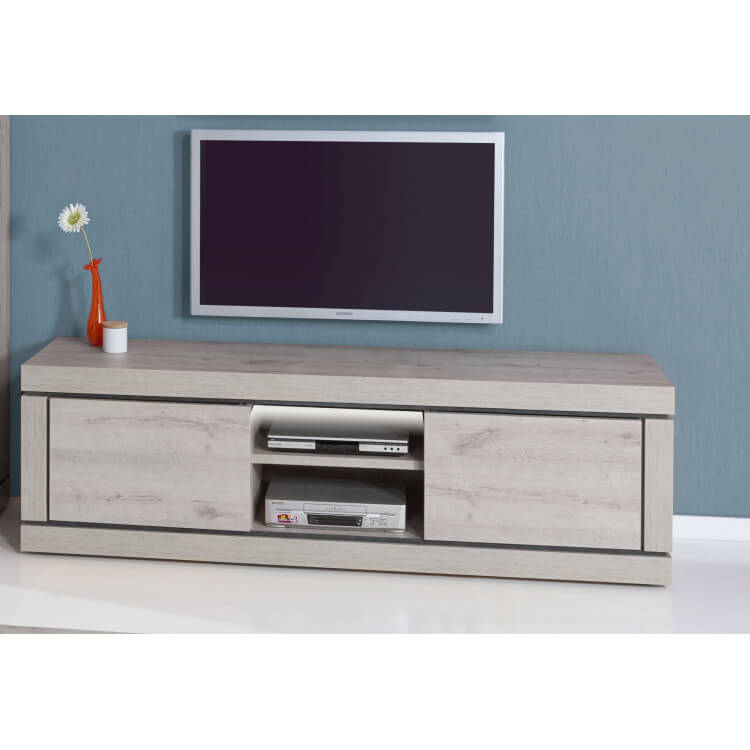 Meuble TV contemporain 195 cm coloris chêne/titanium bleu Romanesco