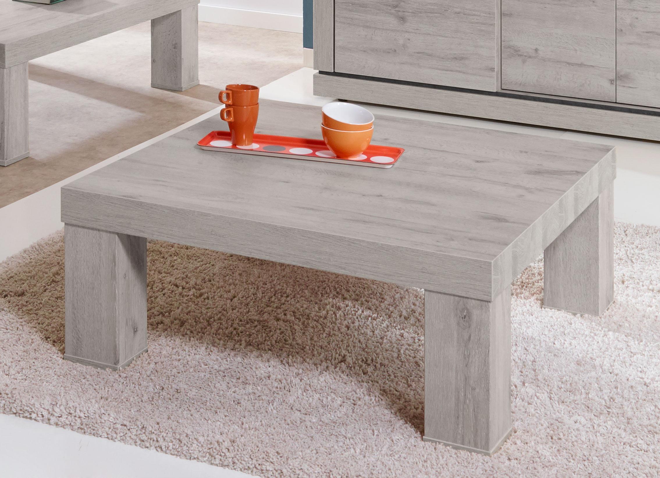 Table basse contemporaine carrée coloris chêne/titanium bleu Romanesco