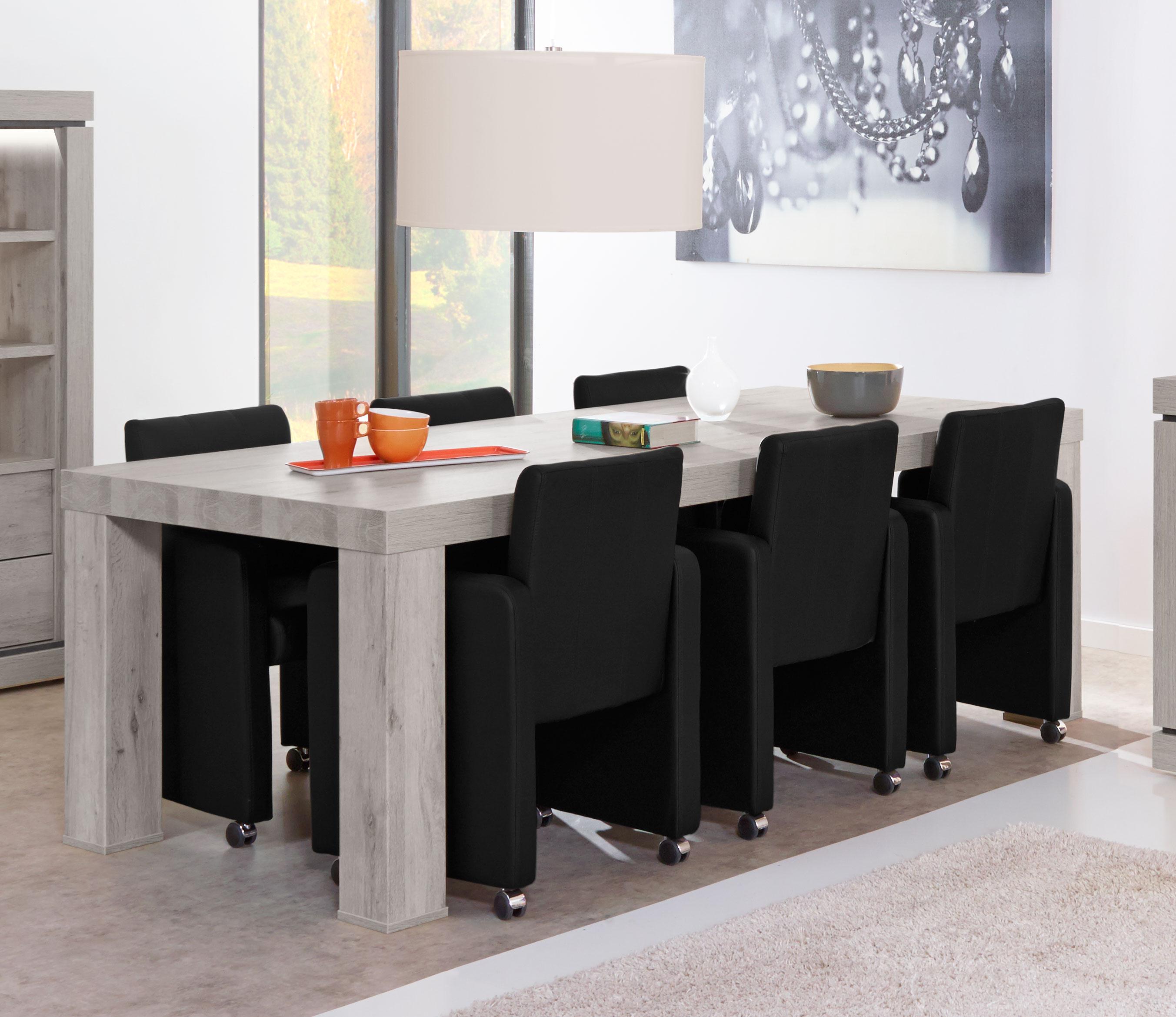 Table de salle à manger contemporaine coloris chêne/titanium bleu Romanesco