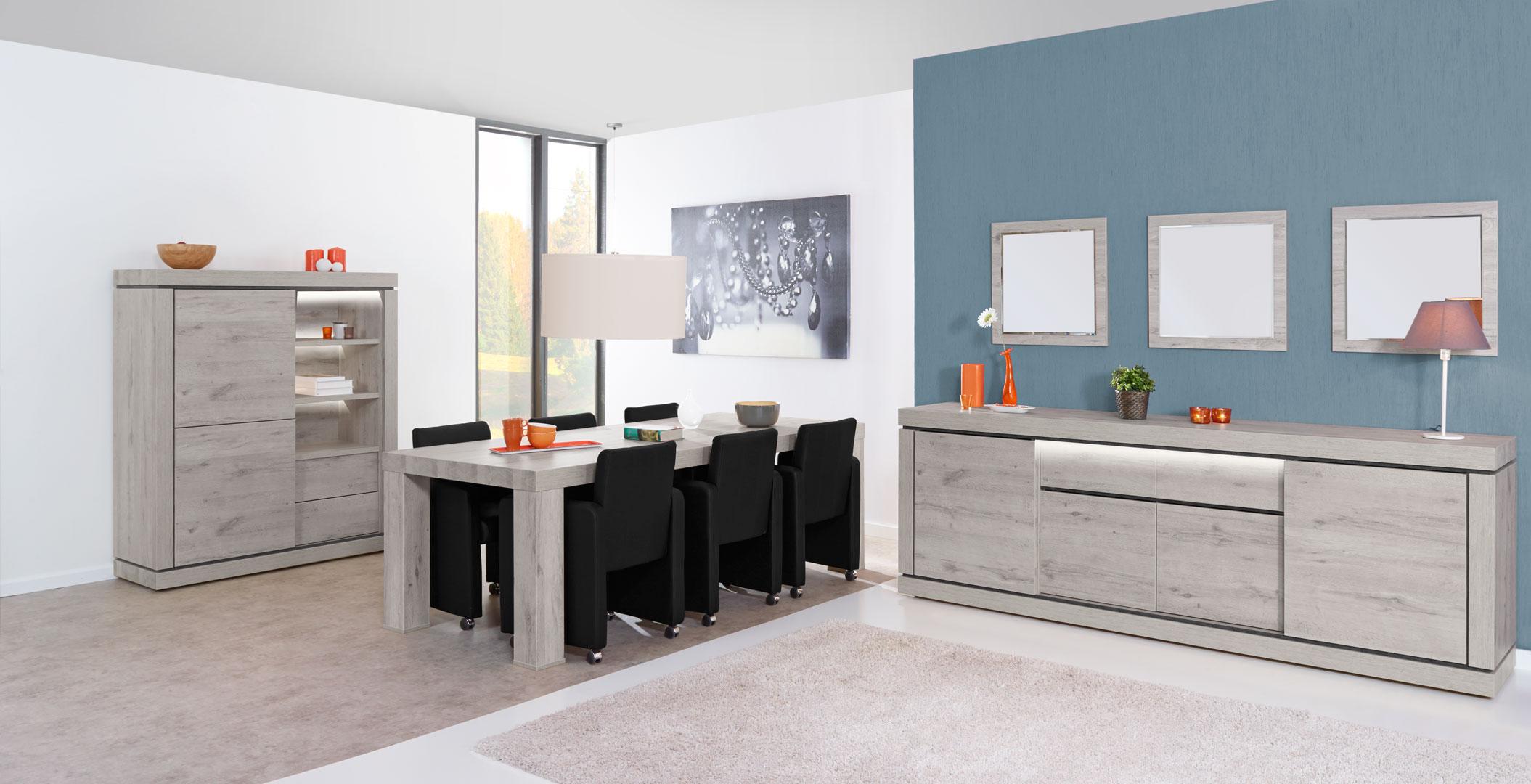 Salle à manger contemporaine coloris chêne/titanium bleu Romanesco