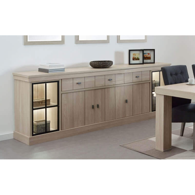buffet bahut contemporain 250 cm coloris orme naturel vaucluse matelpro. Black Bedroom Furniture Sets. Home Design Ideas