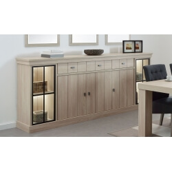 Buffet/bahut haut contemporain 250 cm coloris orme naturel Vaucluse II