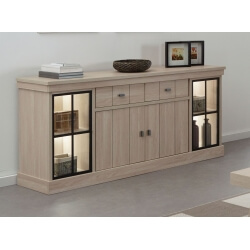 Buffet/bahut haut contemporain 216 cm coloris orme naturel Vaucluse II