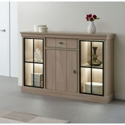 Buffet/bahut haut contemporain 144 cm coloris orme naturel Vaucluse II