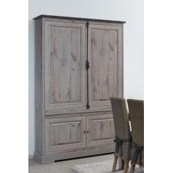 Vaisselier/argentier contemporain portes pleines coloris chêne nature/gris marbre Bogotta